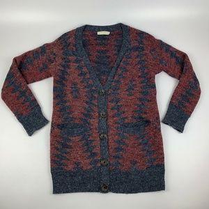 Elodie Cardigan Sweater Size M Burgundy Navy